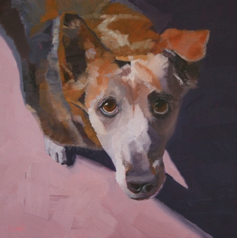 daily painting, oil painting, dog portrait, dog