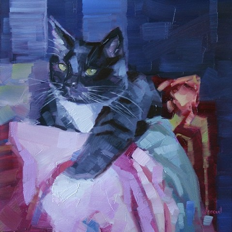 cat painting oil painting patti vincent pet portrait commission