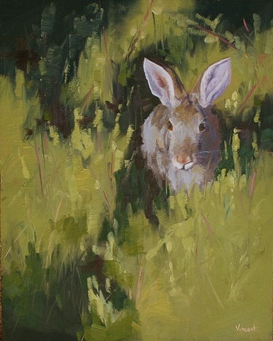 oil painting, bunny, grass, Virginia Mennonite Retirement Community, Park Gables Gallery