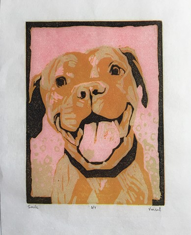 dog art, reduction linocut, linocut print, printmaking, pit bull, bully, bully love, pit bull love, dog