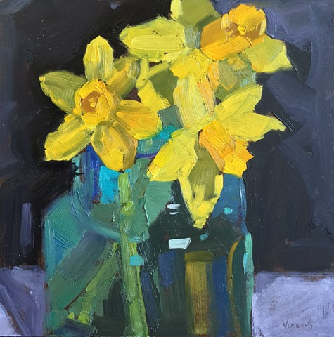 Floral art, flower power, daffodils, daffodil painting, oil painting, Patti Vincent studio, still life, alla prima, life painting