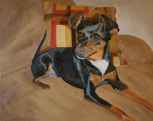 pet portrait, dog, painting, oil painting