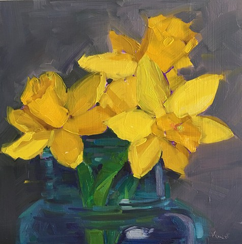 Floral oil painting, daffodil, original oil painting, alla prima, life drawing, Patti vincent studio, artist