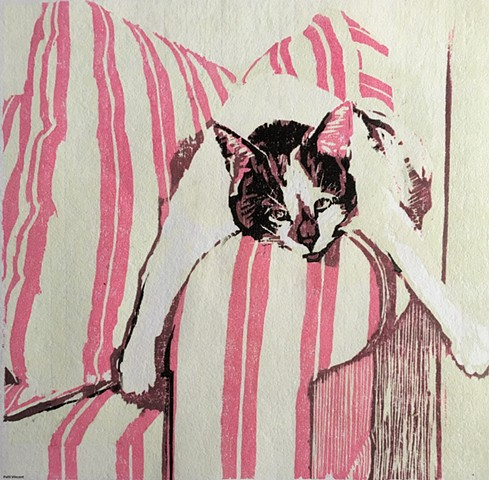 cat art, woodcut print, cat on the couch, sleepy cat, lazy cat, limited edition, original art