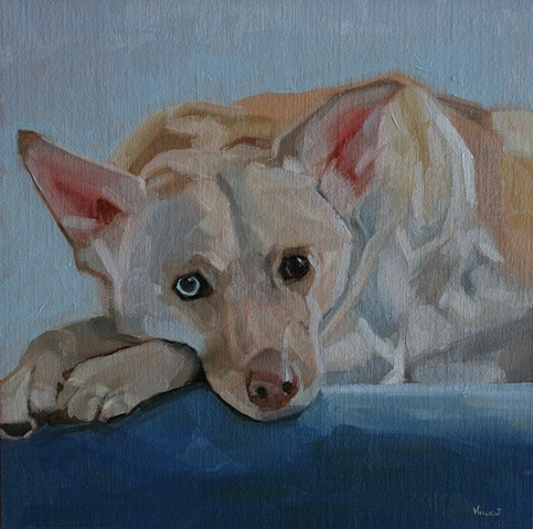 commission, pet portrait, dog, oil painting, stairs, sad