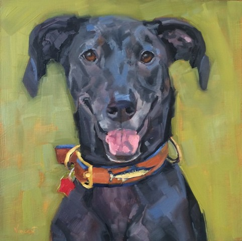 dog art, pet portrait, pet painting, oil painting