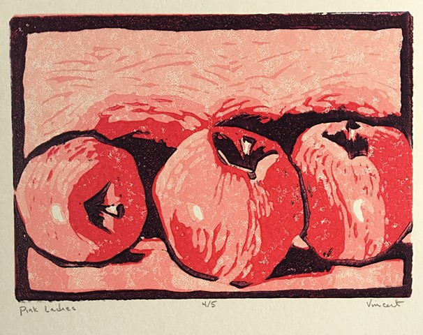 pink ladies, apples, reduction linocut, linocut, linocut print, printmaking, printmaker, still life