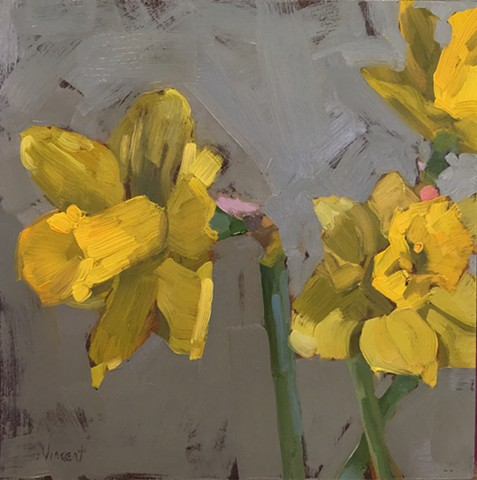 Daffodils, spring flowers, floral art, artist, oil painting, wow painting