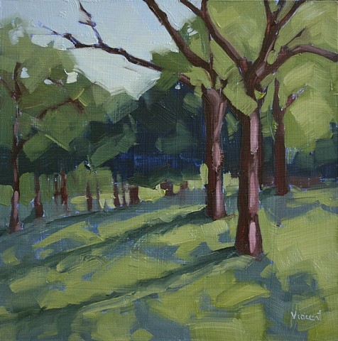 sold, oil painting, landscape, trees, shadows, cool colors