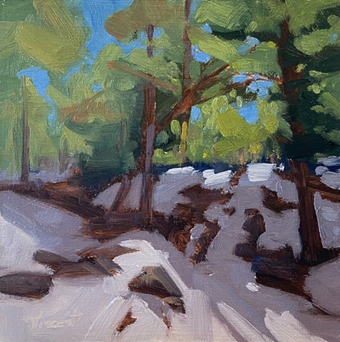oil painting, landscape painting, snow, small works, alla prima, oil on panel