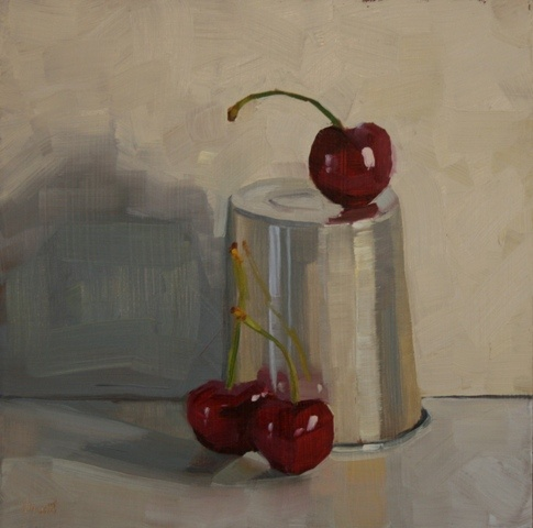 small oil painting, daily painting, cherries, aluminum cup, still life