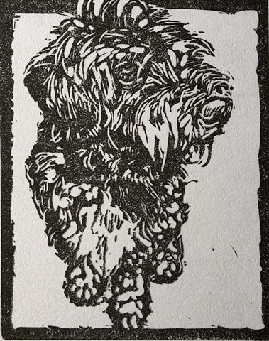 dog art, dog, Colorado, Vincent, art, fine art, linocut, black and white, ink