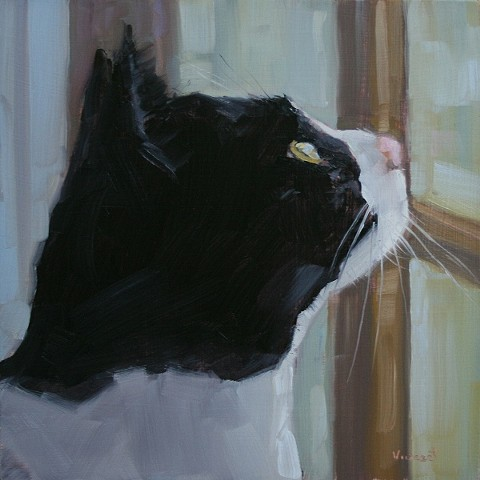 cat painting, oil painting, cat, window,