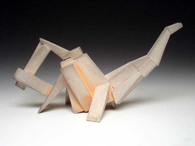 slip Cast and Assembled Geometric Teapot - Soda Fired modern contemporary ceramic art digital CAD design