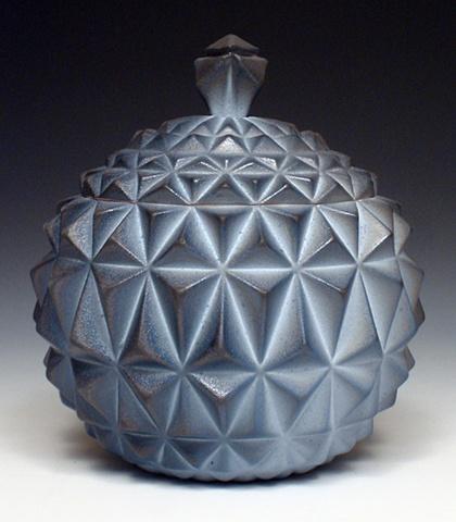 Geometric Slip Cast Jar featuring Blue Flashing Slip