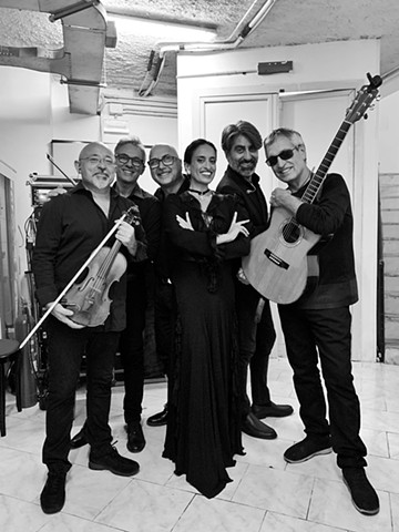 Noa, Gili and Solis String Quartet backstage, Italy tour