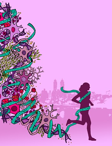 "Illustration for the 2018 Pamela Sklar Symposium 5K ""Get Psyched"""