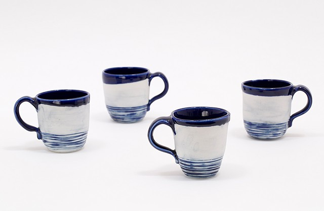 Mugs (Set of 4) Blue Interior, exposed body