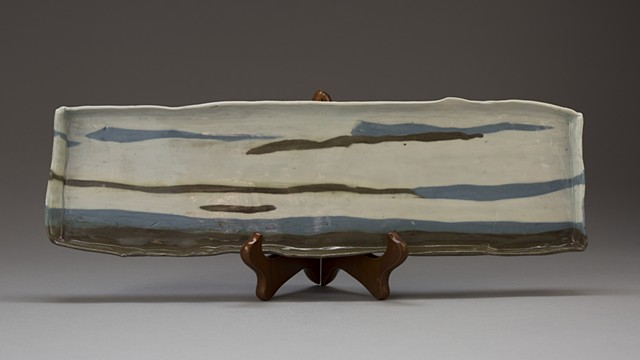 Long Plate in Colored Clay Logs