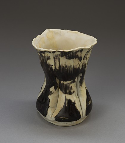 Hourglass Vase- Black and White with Painterly Marks
