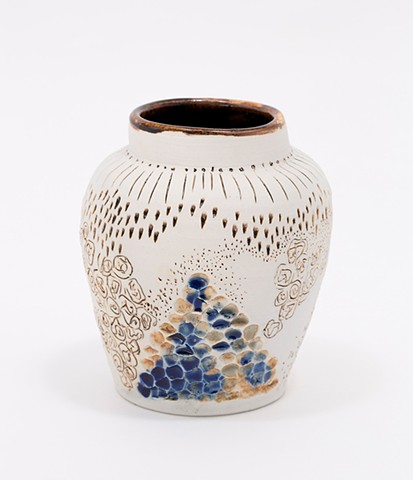 White Jar with linework rosettes