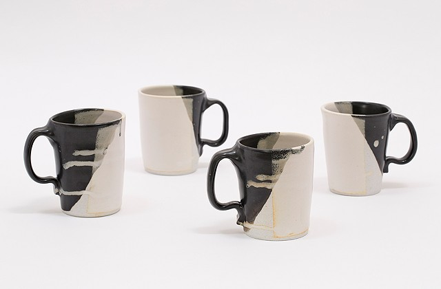 Mugs (Set of 4) Matte Black & Antique