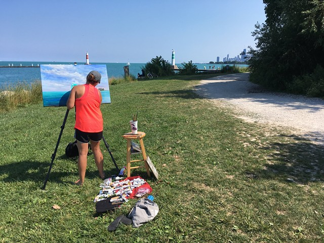 Painting Plein Air at Montrose Harbor, Chicago, IL