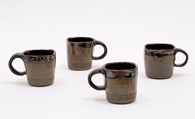 Mugs (Set of four) - Square, Earth tones