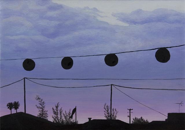 San Jose Obon chochin lanterns skyline