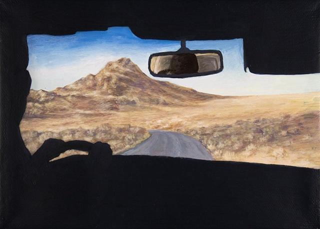 Horizontal drive to Pyramid Lake. View from car interior.