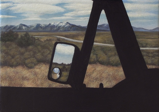 VW Vanagon window Ruby Mountains rear view mirror