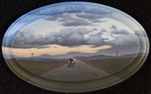 trailer Burning Man Nevada desert sunset twilight road