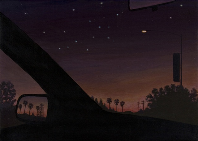 night sky in a car city skyline palm trees