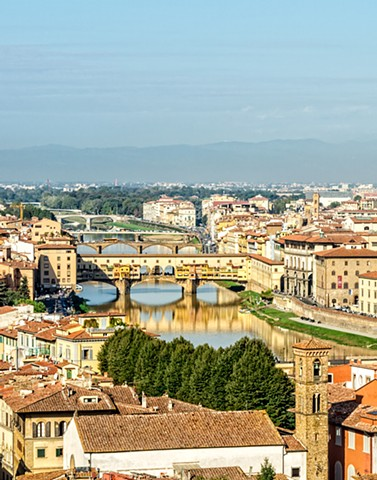 Six bridges of Florence over the Arno