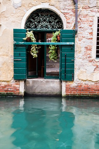 Window with a View of the Canal, tranquil turquoise waters in Venice near Trattoria al Ponte