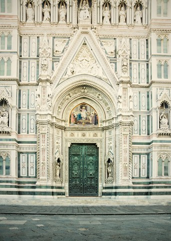 Beautiful marble on the front of the Duomo in Florence Italy