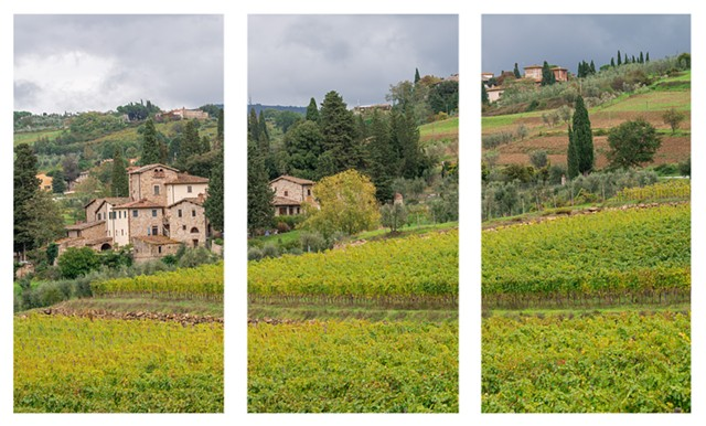 Chianti Vineyards Tryptich of full photo Special Order  Lombardi