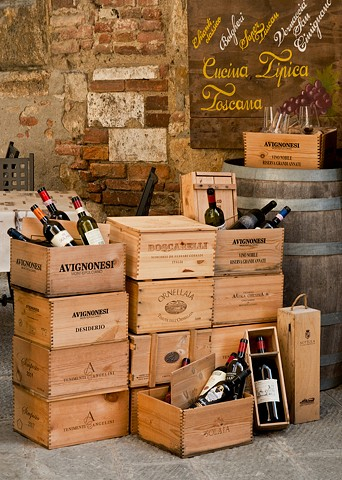 Wine Crates and bottles on display at Cucina Tipica restaurant in Tuscany, Montepulciano Italy