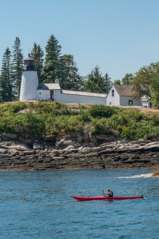 View of the Lighthouse from boatside in Boothbay Harbor, Maine