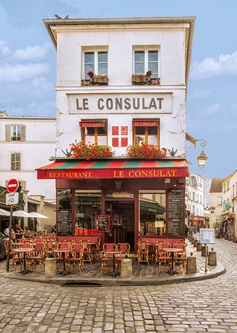 Blue Sky day over Le Consulat in Montmartre