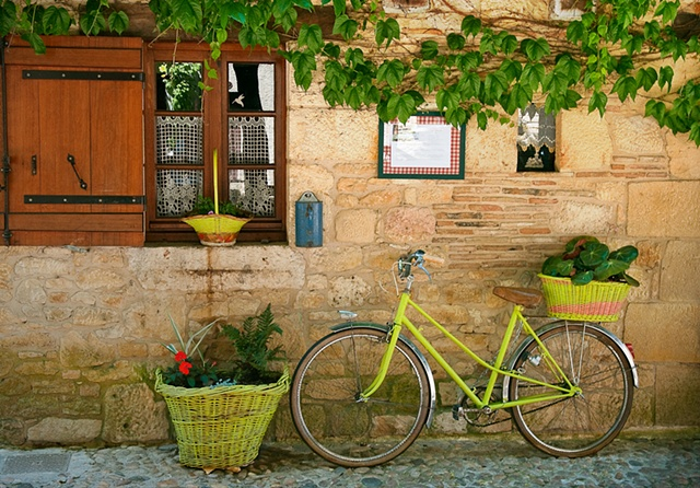La Bonbonniere Bergerac France, lime green bike leaning against the wall, baskets, vines and a window