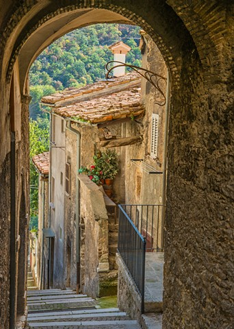 Down the walkway in the ancient town of Scanno, Abruzzo, Italy