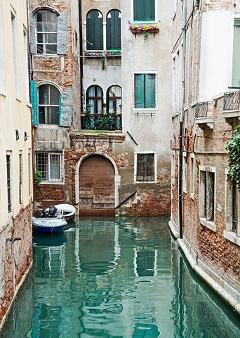 Turquoise Shutters on a Venice Canal