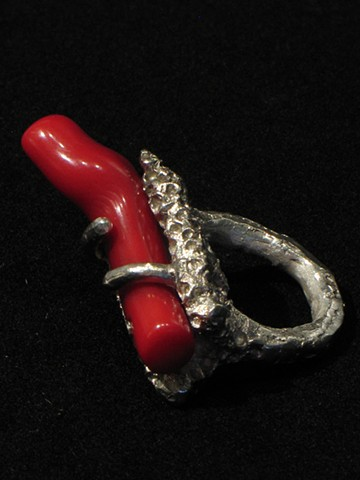 Silver and Coral Ring by Dixie Wiley