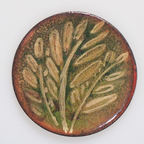 enamel gold fern