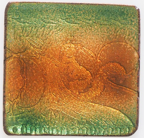 green brown enamel etched squirrel