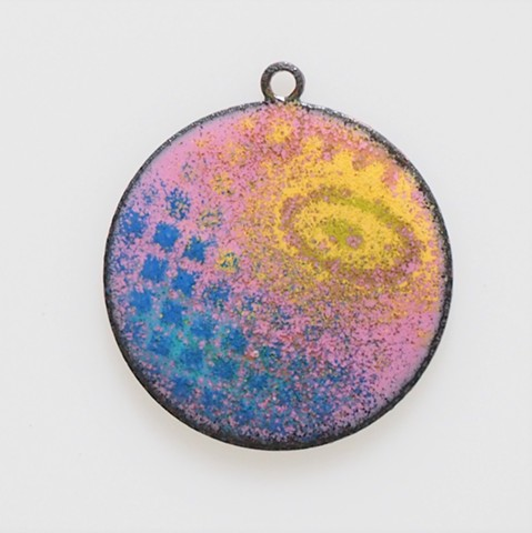 small enamel pendant yellow eye torchfired