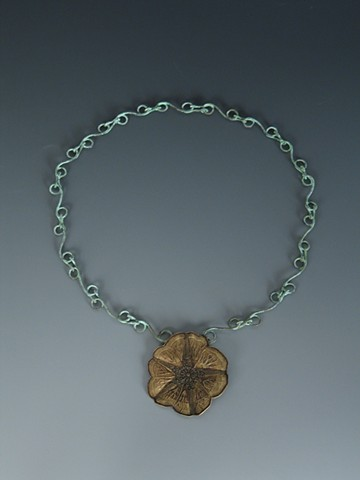 Etched Morning Glory neckpiece by Josh