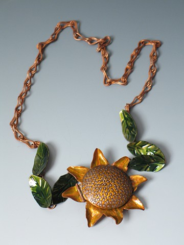 Sunflower locket by Dixie Wiley