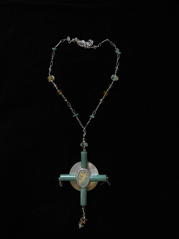 Costume to Custom necklace by Elise Kendrot, Guardian Angel Crucifix semi-precious stone beads from a necklace, pearls, sterling silver, guardian angel pin, sterling silver charm, mother of pearl component
